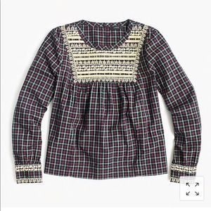 J Crew Embroidered Peasant Top in Plaid
